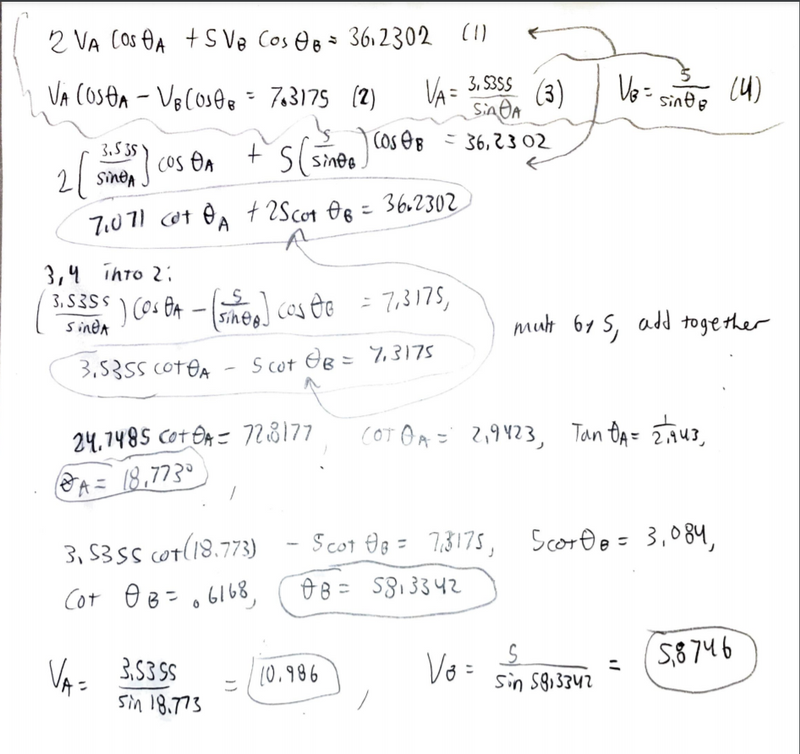 Work done by hand, squiggly line up top denotes equations to be  inserted to CAS