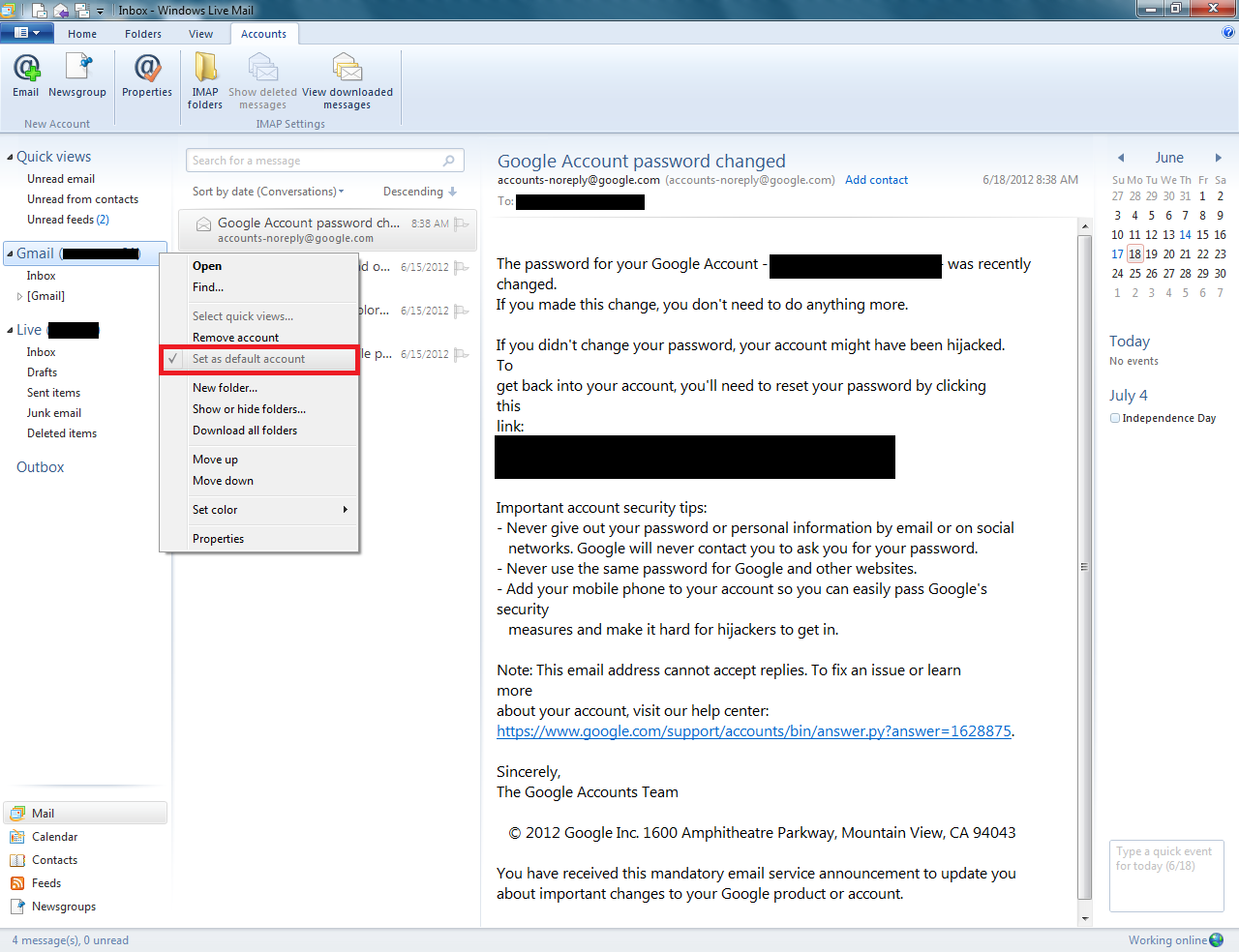 set windows default email to gmail
