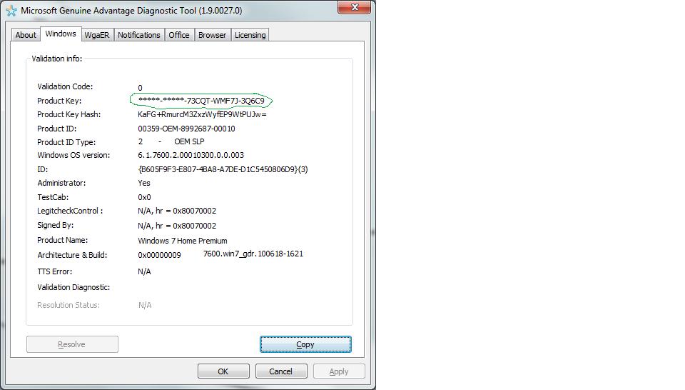 windows activation and validation-COA key on sticker mismatc    - HP