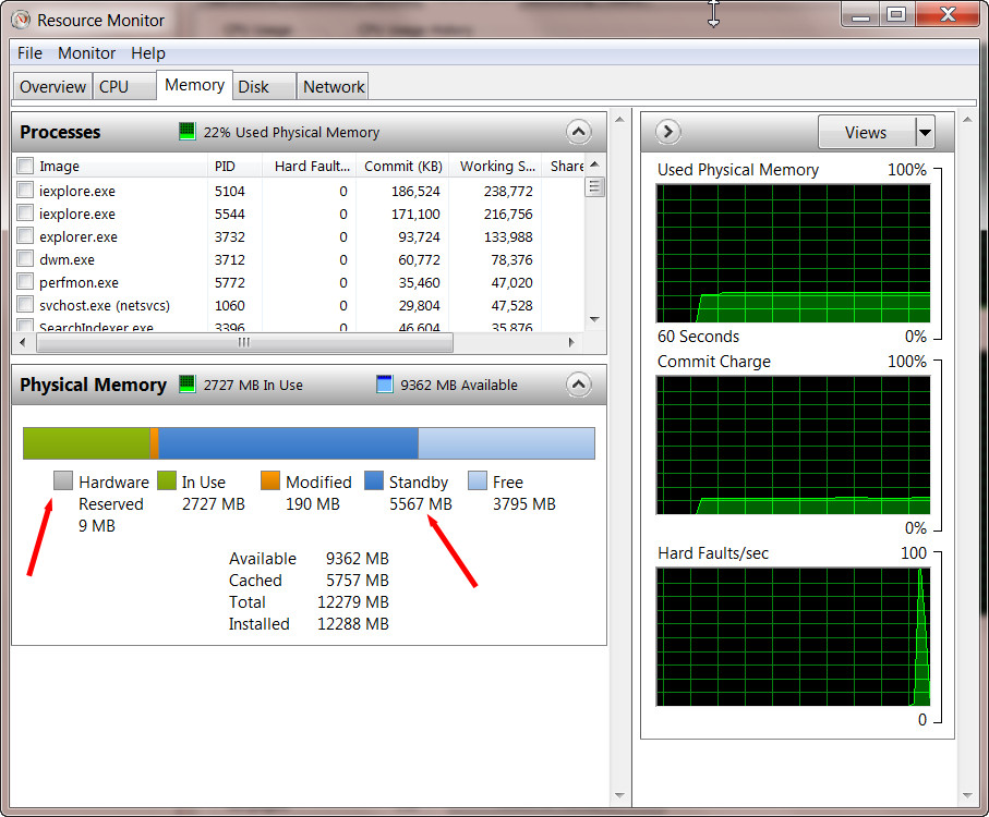how to clear physical memory cache windows 7