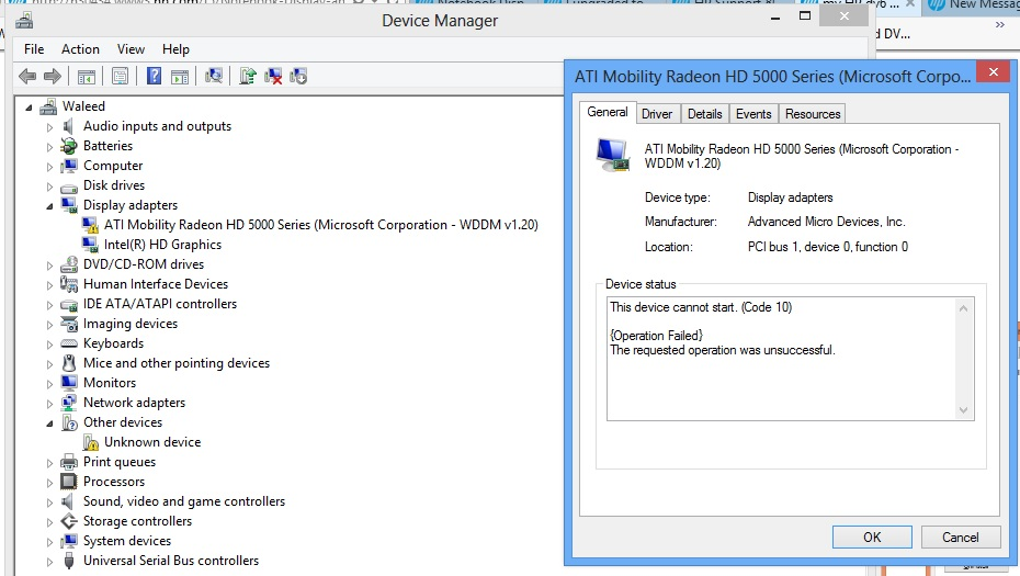 My HP dm4 1090ee graphic driver problems with Win 8 ((micros    - HP