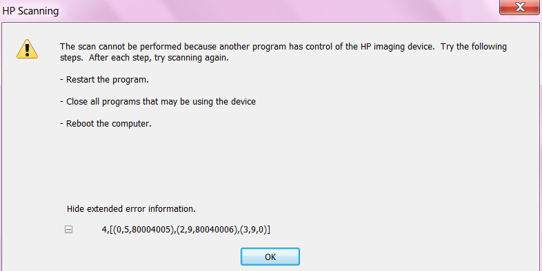 Scanner in use by another program - HP Support Community - 2344165