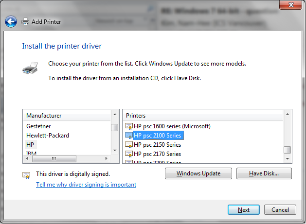 Driver for psc 2110 will not install on my new computer, win.