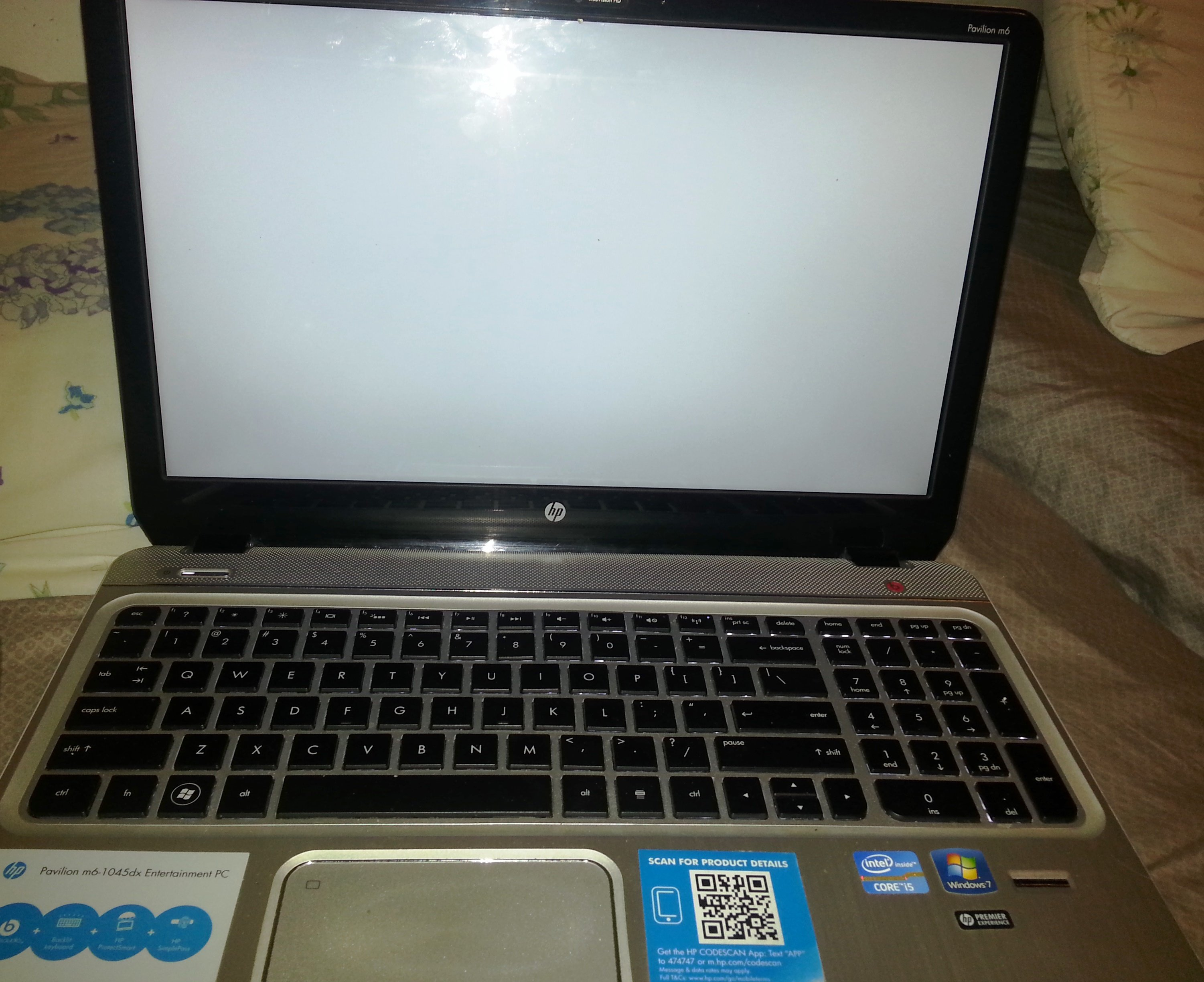 my HP pavilion M6 1045dx 's screen just turn into white........ - HP Support Forum - 2687923