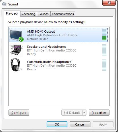 ноутбук передает ускоренное аудио через hdmi