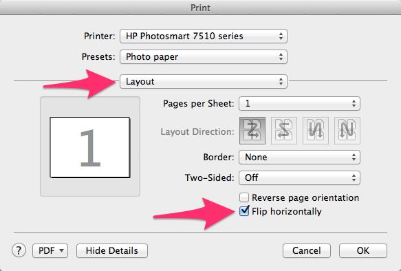 Mac mirrored print