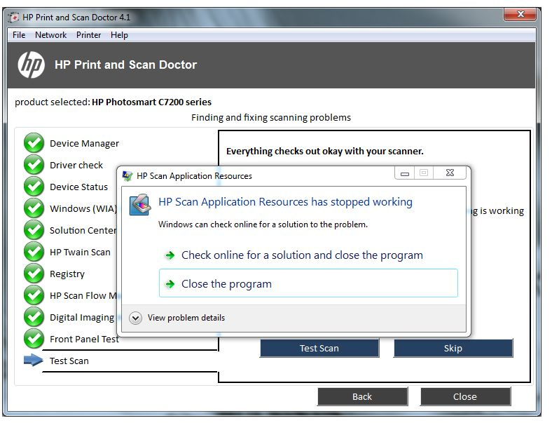 HP Scan Application has stopped working Windows 7 64bit