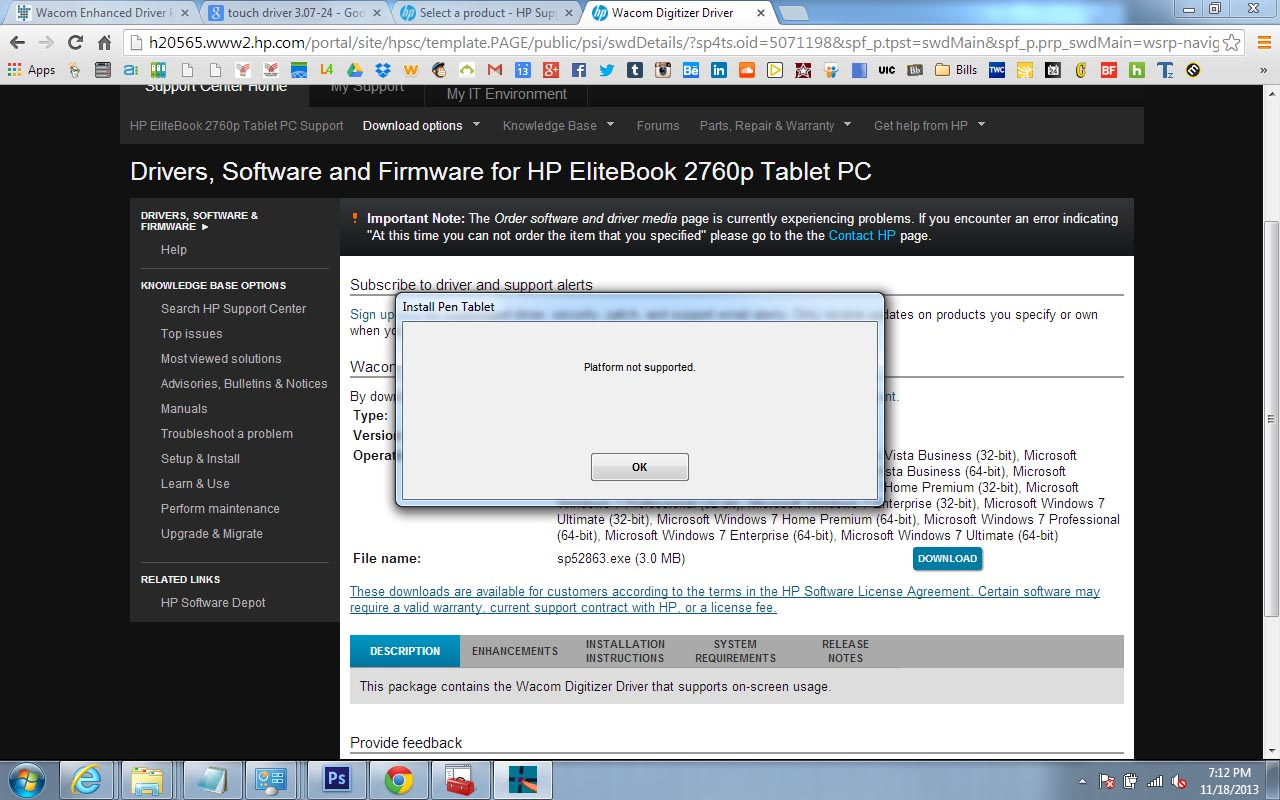 hp 2730p touch screen drivers