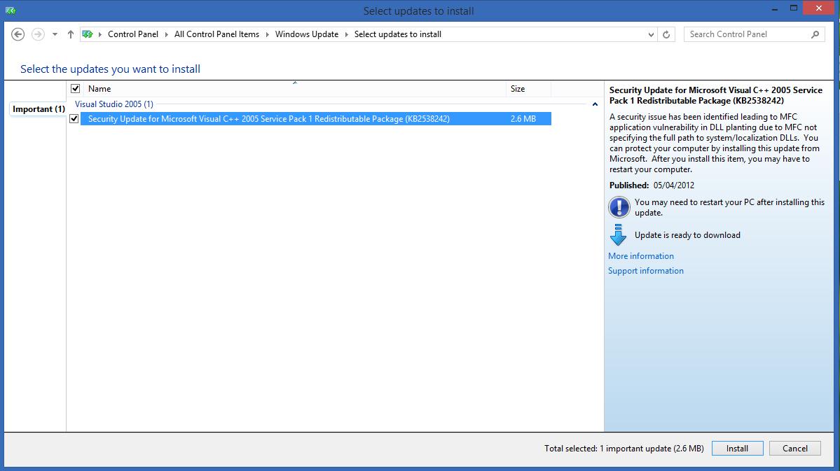 Security update for Microsoft Visual C++ 2005 Redistributabl