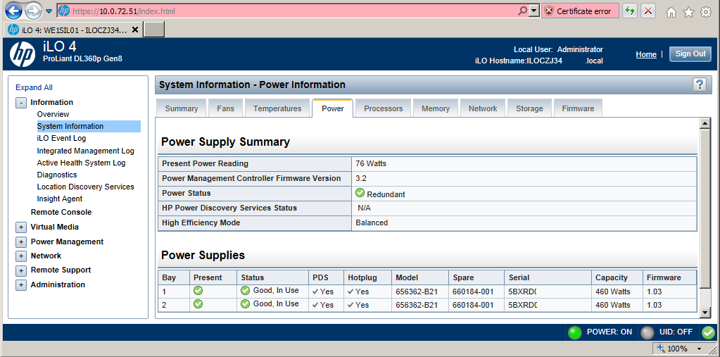 Solved: iLO 4 scripting to get Power Supply Status - HP