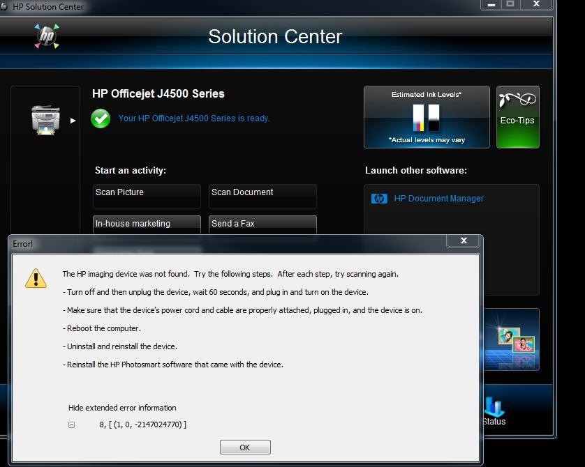 hp j4580 scanner driver