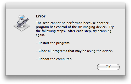 Unable to scan- says another program has control of the HP i... - HP
