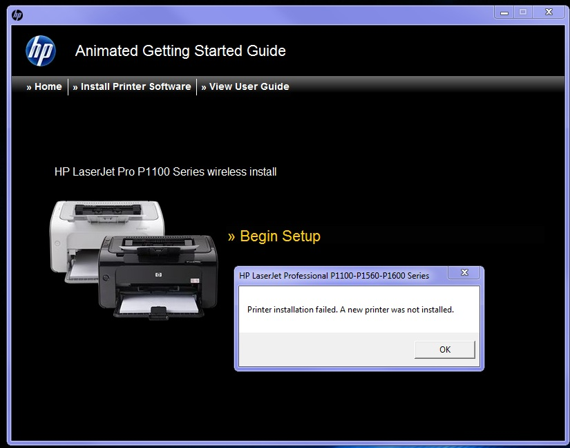 Solved: HP Laserjet P1102W - Unable to install on Windows 7