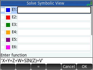 How does Hp prime graphing calculator solve equations, X Y Z