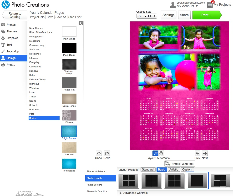 HP Photo Creations 4 photo calendar