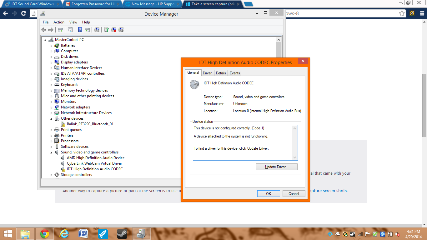 HP Mini 110-1001XX Notebook IDT HD Audio Treiber Windows 7