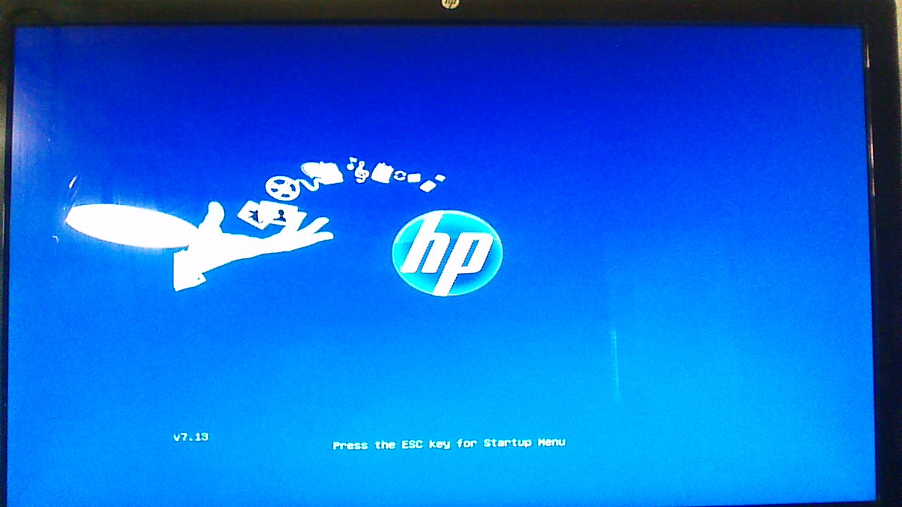 Press the ESC key for startup menu freezes on hp h8-1260t - HP