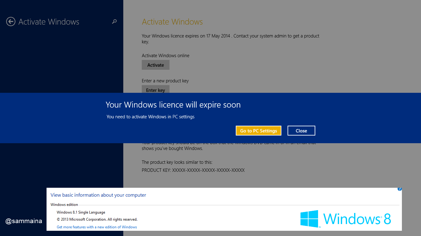 Windows 8 1 message 'your windows licence will expire soon' - HP