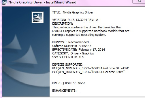 Solved: Unable to install Nvidia Graphic Drivers for HP