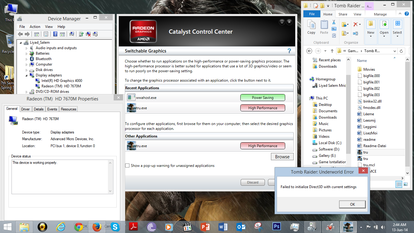 Radeon hd 7670m gpu is not working correctly. Hp support.