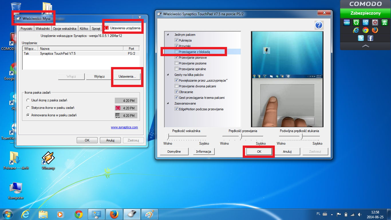 Synaptics TouchPad V7 5 - does not remember driver's setting    - HP