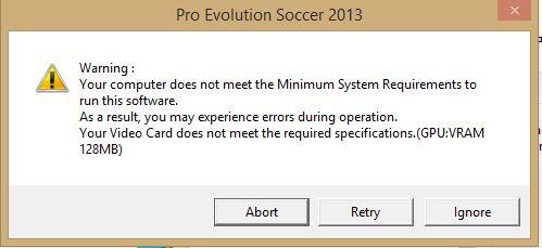Pro Evolution Soccer 2013 (PES 2013) not detecting GPU/VRAM - HP