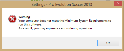 Pro Evolution Soccer 2013 (PES 2013) not detecting GPU/VRAM