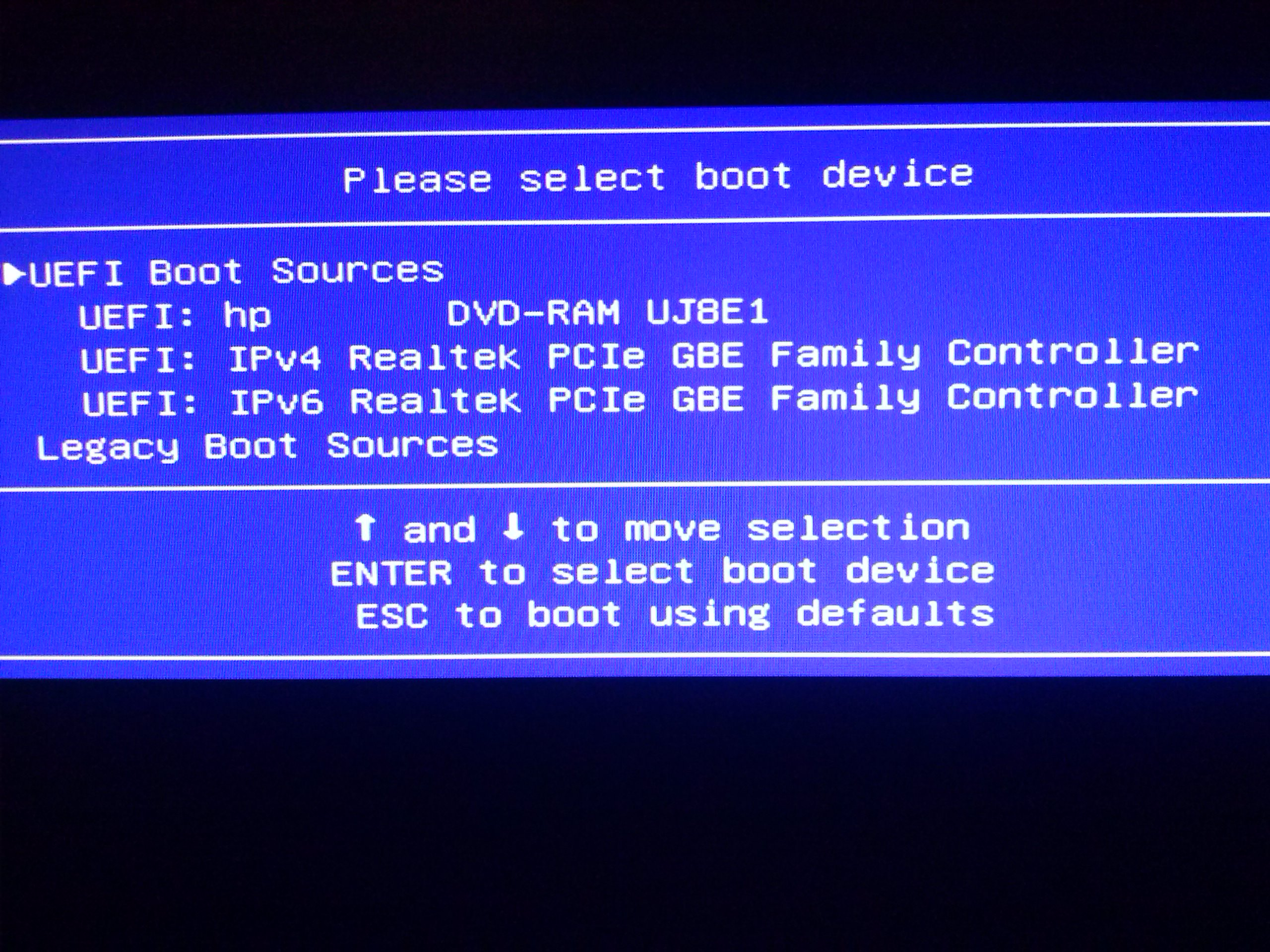 enable usb boot in bios hp