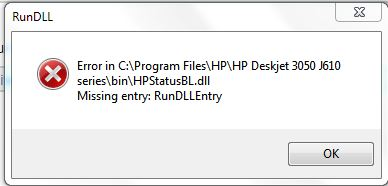 Solved: Missing entry RunDLLEntry - HP Support Community - 4356856