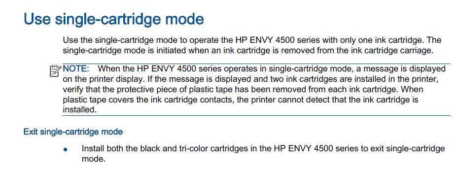 Envy 4500 Printer Single Cartridge Mode Error
