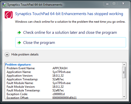 synaptics touchpad 64-bit enhancement has stoped working
