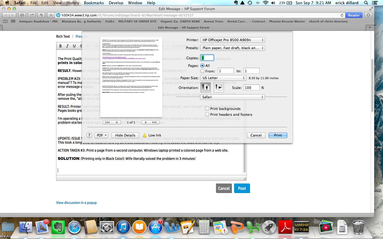 hp officejet pro 8500 premier prints only in black mac user