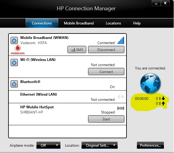 HP Connection Manager Does not display Data Sent Received