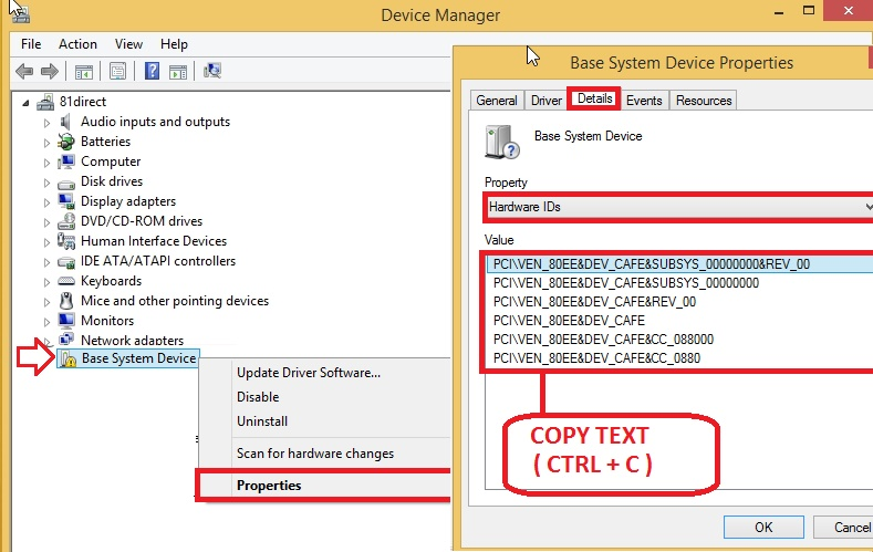 HP ALL in ONE Pc 18-1201ix: lack of my pc Base system device driver