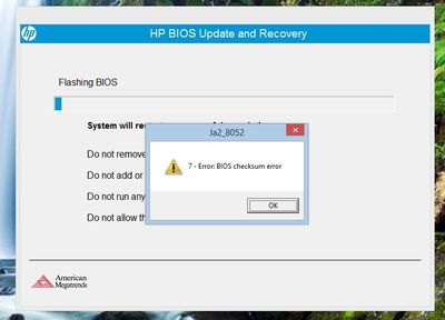 BIOS update fails - eehelp com