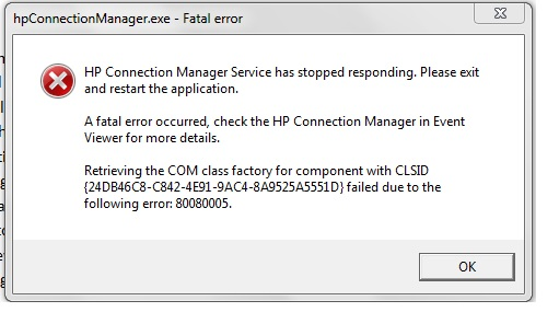HP - fatal error Connection Manager - eehelp com