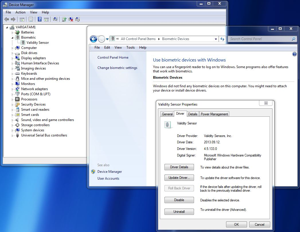 EliteBook 840 G1: Validity Sensor fingerprint reader is not listed