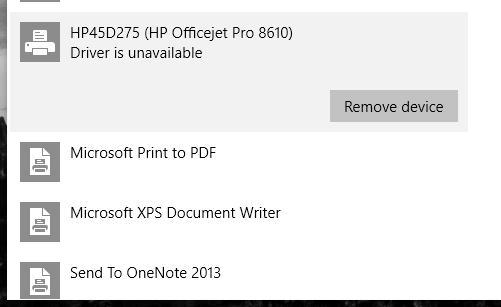 OfficeJet Pro 8610: OfficeJet Pro 8610 - driver problem