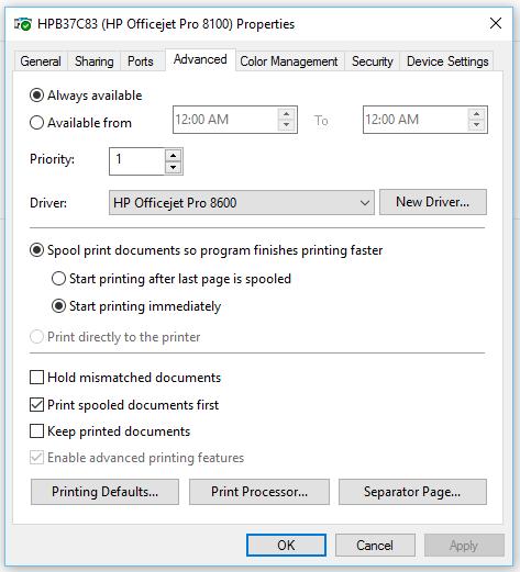 OfficeJet Pro 8100: Officejet Pro 8100 won't print color