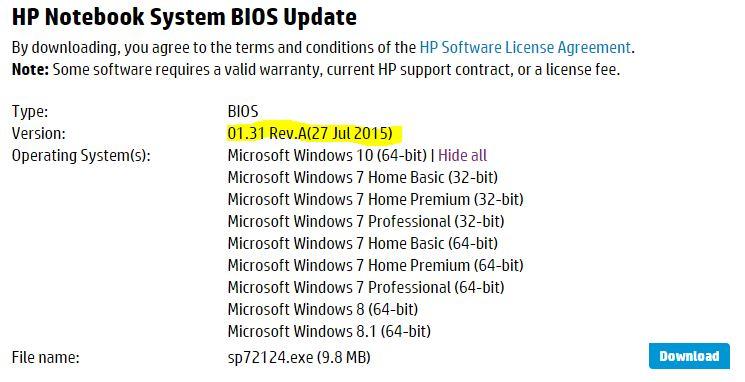 Hp Probook 450 G1 Laptop Is My Most Recent Bios Version Eehelp Com