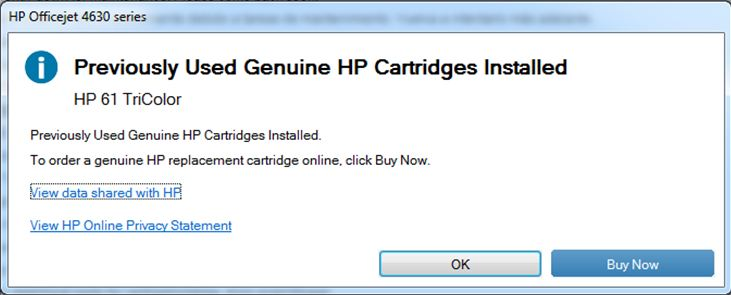 OfficeJet 4630: Formerly Geniune HP cartridges installed