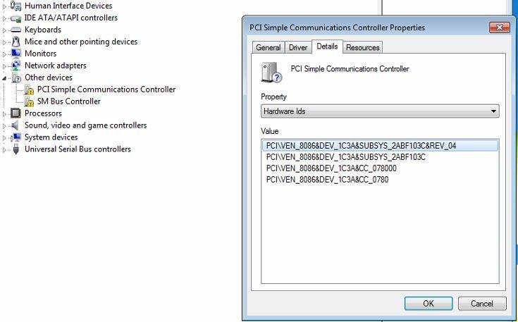 hp compaq dc7800 pci simple communications controller driver windows 7