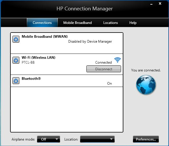 Hp notebook pcs connecting to a network with connection manager.