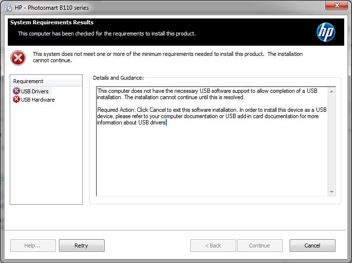 HP Photosmart B110: cannot install drivers, USB error