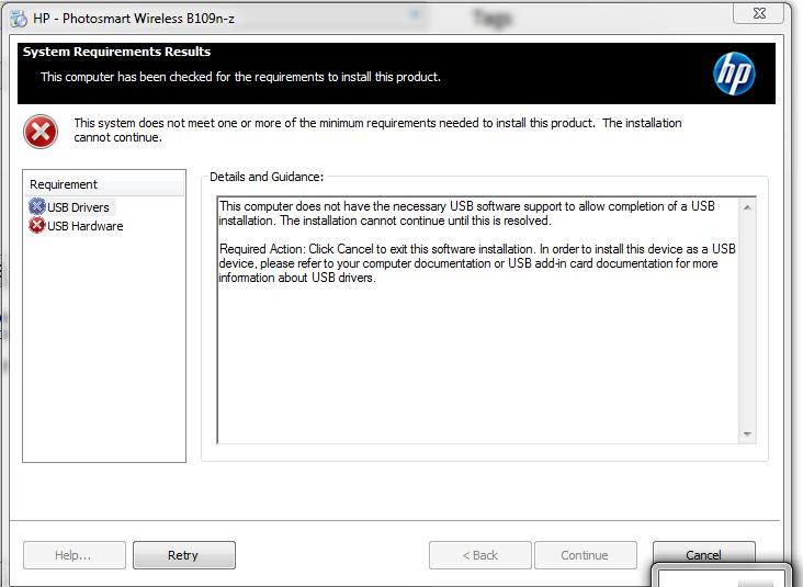 HP Photosmart B109n: my printer software won't install