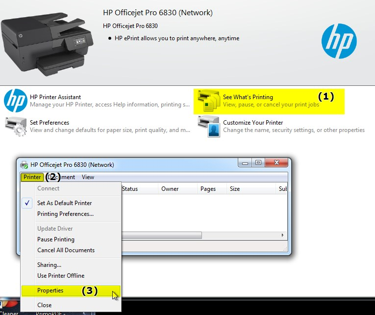 Re: HP Officejet Pro 6830 Wont Print On Win7, See Port