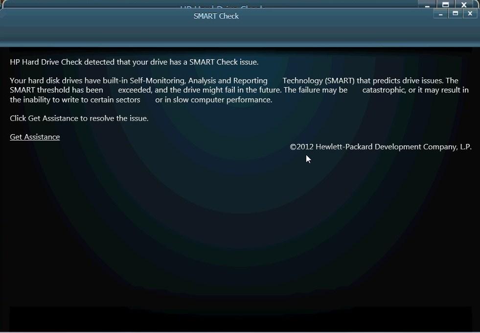 SMART hard disk error - HP detected an imminent failure: HP laptop