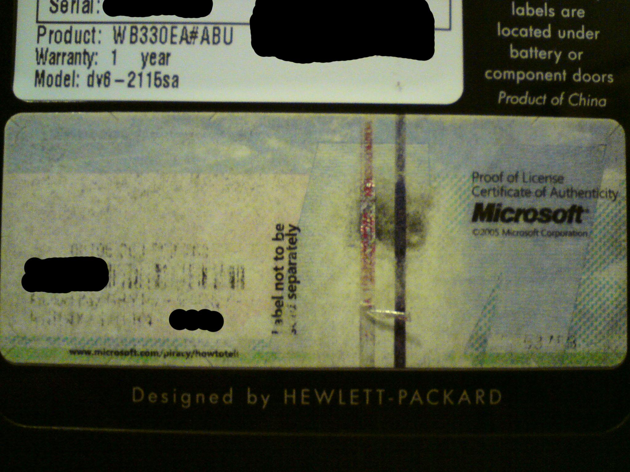 Windows 7 certificate of authenticity
