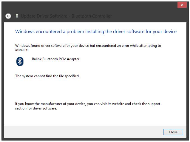 System Cannot Find The File Specified During The Installation Of The Bluetooth Drivers Eehelp Com