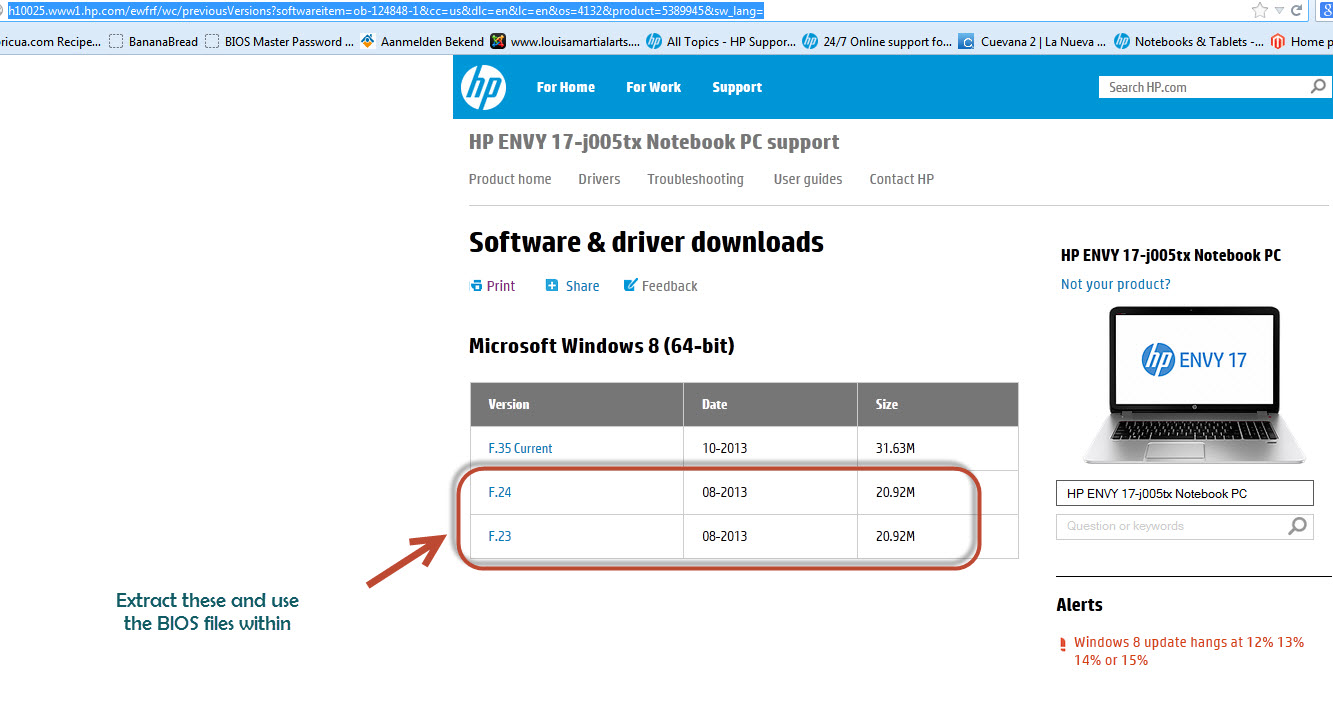 HP Envy 17, N1L21EA: HP Envy 17 blocked Bios Update